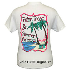 "Girlie Girl Originals ""Palm Trees"" White Short Sleeve Unisex Fit T-Shirt"
