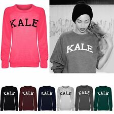 Womans Ladies Celeb Kale Print Fleece Long Sleeve Sweater Jumper Sweatshirt Tops