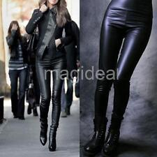 Fashion Sexy Lady Women High Waist Black Stretchy Faux Leather Pants Leggings