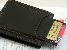 New Black Mens cow leather bifold wallet credit/ID card holder slim purse Mini