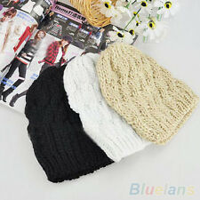 Ornate Women Winter Knit Crochet Knitting Wool Braided Baggy Beanie Ski Hat