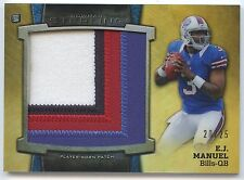 E.J, Manuel RC 2013 Bowman Sterling Gold Refractor Patch Rookie Card#/25-Bills