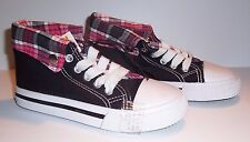 Girl's High Top Sneakers - Black with Pink Plaid - Choice Size 13, 2 or 3