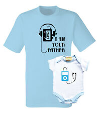 Father and baby set. T-shirt and baby grow with i pod and old music tape.