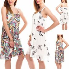 Womens Ladies Sleeveless Camisole Chiffon Printed Strappy Swing Vest Dress Tops