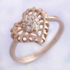 Heart Band Ring Size 6-7 Rose Gold Filled Cubic Zirconia Wedding Party