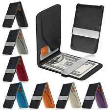 Mens Leather Money Clip Pocket Slim Wallet Black ID Credit Card Holder Purse