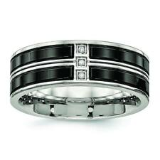 Chisel Stainless Steel Polished Black IP Plated CZ Band Ring SR548