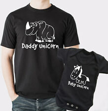 Funny Father and baby T-shirt and baby grow set with unicorns.