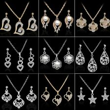 Fashion Crystal Pearl Heart Rose Flower Necklace Earrings Elegant Jewelry Set