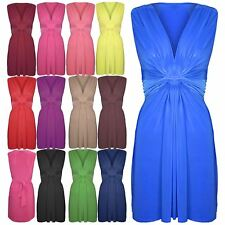 Womens Ladies Drape V Neck Ruched Twist Knot Front Bow Tie Belt Knot Midi Dress