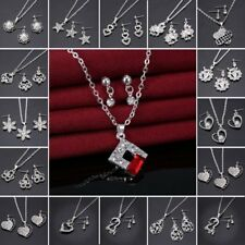 Women Heart Flower Crystal Rhinestone Pearl Necklace Earrings Jewelry Set Hot