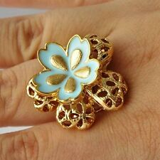 Novelty Yellow Gold Filled Blue Enamel Flower Womens Band Ring Size 7 8 9