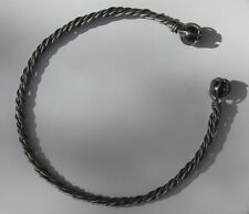 8 Strand Stainless Neck Torc with Gem Stone You Choose Size & Stone SCA Garb fnt