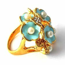 Fangle Yellow GF Clear Zircon Created Pearl Womens Love Ring Size 7,8,9