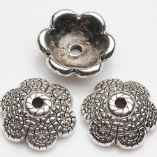 15/30Pcs Tibetan Silver Crafts Carved Flower Shape Spacer Charm Bead Caps 12*4mm