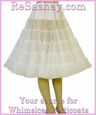 1950's TEA LENGTH 30 YARD 2 LAYER ORGANDY PETTICOAT CRINOLINE SLIP, ADJUSTABLE