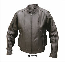 Men's Vented Black Analine Cowhide Leather Bomber Jacket Motorcycle