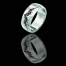 Etched Tribal design Stainless Steel Ring many sizes fnt