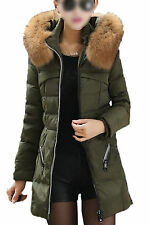 5X(Casual Winter Slim Thick Long Down Jacket Fur Collar Coat Overcoat Army)