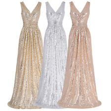 Sequins Long Formal Prom Dress Party Cocktail Ball Evening Pageant Wedding Gown