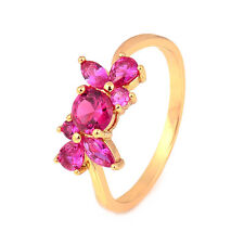 Stunning 18K Yellow Gold Filled Red Ruby Womens Band Ring,Size 6,7,8,9