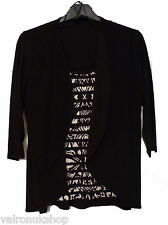 BLACK AND WHITE LADIES EDGE CARDIGAN WITH SEWN IN TOP - ALL NEW - M TO XXL