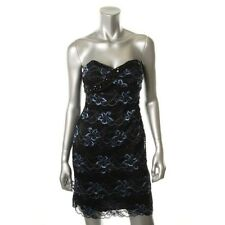 Onyx Nite Black Embellished Floral Lace Strapless Party Cocktail Dress - NEW