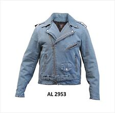 Men's Blue Denim Motorcycle Jacket Zippered Sleeves by Allstate Leather