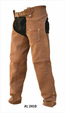 Unisex Brown Buffalo Leather Motorcycle Chaps By Allstate Leather