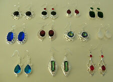 Silver Earrings 925 Womens Girls Gemstone Hook Statement