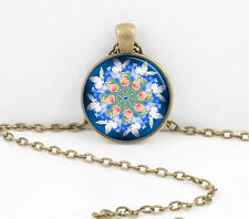 Doves and Roses Kaleisdoscope Blue Pink Pretty Pendant Necklace Key Chain