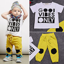 Toddler Baby Boys Short Sleeve T-shirt Tops & Long Pants Trousers Outfits Sets