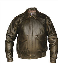 Men's Retro Solid Brown Buffalo Leather Bomber Motorcycle Jacket Allstate AL2703