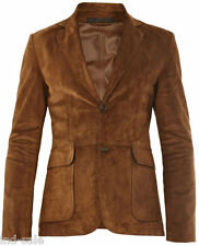 Custom Tailor Made Genuine Suede Blazer Coat LEATHER JACKET EDH Party Tan