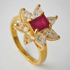 Beautiful Womens Yellow Gold Plated Red CZ Promise Love Band Ring Size 7-9