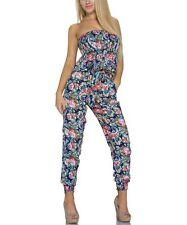 Jumpsuit Bandeau One Piece Ladies Jumpsuit Catsuit long Floral Pattern, Blue