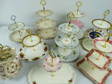 2 & 3 tier cupcake porcelain stands feat Royal Albert Old Country Roses Floral