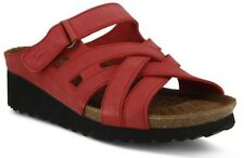 Spring Step Women's Sabra Casual Leather Multi Strap Slide Sandals Red Nubuck