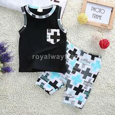 Phenovo Baby Boy Clothes Summer Sleeveless Cotton Vest+Shorts Pants Outfit 1-3Y