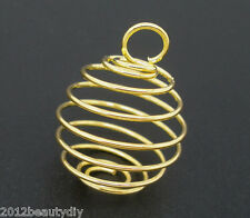 Wholesale Gold Plated Spiral Bead Cages Pendants Findings 18x15mm