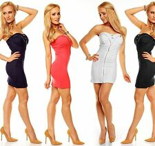 Mini Dress Stretch Dress Party Dress Bandeau Boho Cocktail Dress Zip Dress