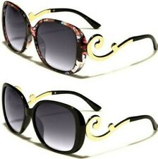 NEW BLACK SUNGLASSES LADIES WOMEN BAROQUE SWIRL FLORAL SHIELD VINTAGE DESIGNER