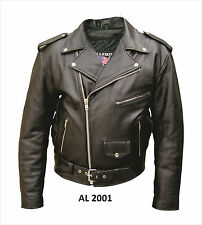 Men's Motorcycle Jacket in Split Cowhide Leather Quilted Lining
