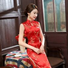 Traditional Chinese Reds Sleeveless Women's Silk Satin Long Dress Cheong-sam