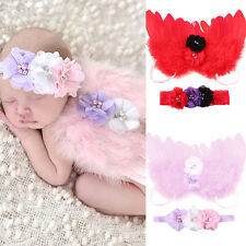 Newborn Kids Baby Feather Angel Wings Flower Hair Band Photography Prop Delicate