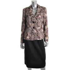 Le Suit Black Animal Print Lined 2PC Skirt Suit - New