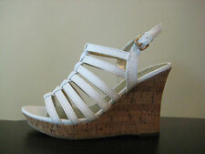 """GUESS """"Java"""" White Strappy Sandal with Cork Wedge Heel & Ankle Strap"""