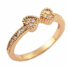 Gorgeous 9K Gold Filled CZ 2-Heart Womens Band Ring Size 6-8 free shipping