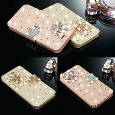 Luxury Bling Diamond Leather Stand Wallet Case Cover For iPhone Samsung Galaxy